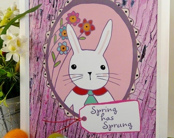 Spring Easter bunny sign PDF - digital floral pastels art words modern retro primitive paper 8 x 10 frame saying