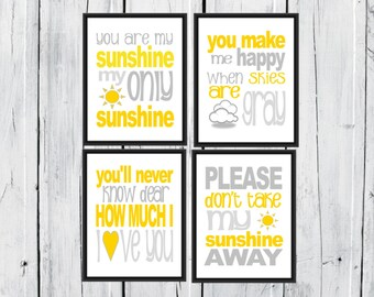 Nursery Decor - You are my Sunshine. 4 prints one low price. Yellow and Gray. 8x10 PDF INSTANT Download