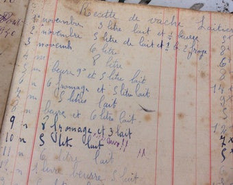 Vintage French 1940 Grocery Agenda, Ledger, Diary, Accounts book, handwritten with extra papers.