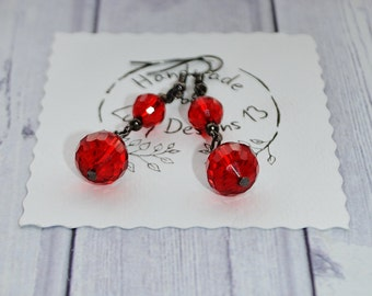 Jewelry Gift For Her - Red Crystal Earrings Handmade - Black Ear Wire - Women's Gift - Anniversary Gift For Fiance - Elegant Jewelry