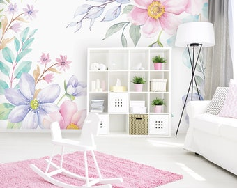 Spring Flowers Pastel Watercolour Wallpaper