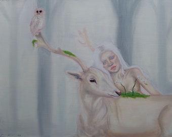Blanca Original Oil Painting on Wood | 11x14 Fantasy Albino Portrait & Deer