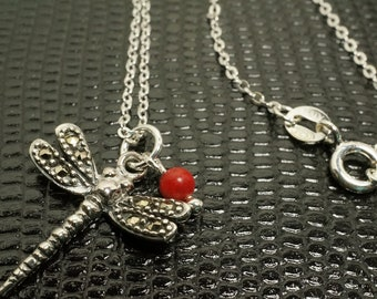 Simple 925 Stamped Sterling Silver Small Dragonfly Necklace