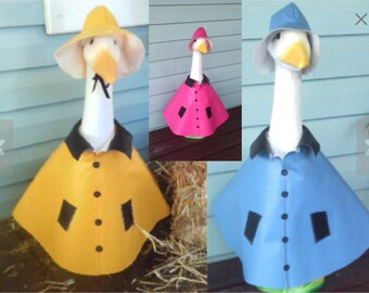 Goose Clothing - Goose Raincoat Color Choice (Yellow, Sky Blue or Hot Pink) for Plastic or Concrete Lawn Goose