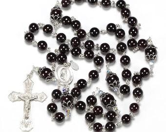 Garnet Swarovski Catholic Rosary Handmade with Sterling Silver Bead Caps & Blessed Trinity - Custom Heirloom Rosaries Gift for Women