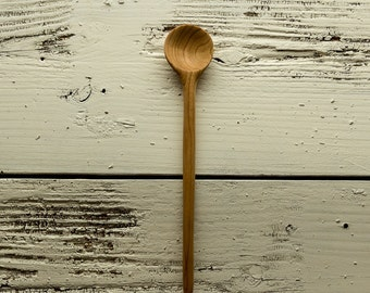 Wooden cooking, tasting, and tall jar spoon handmade in light colored yellow birch with round bowl and long handle
