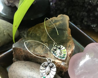 Emerald and Sterling Silver- Pine Cone Leaf Earrings