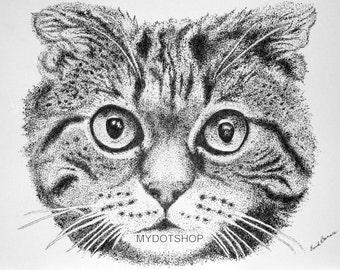 Mounted Giclee CAT  Pointillism Print