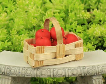 Miniature Apple Basket - Autumn Harvest - Fairy Garden Accessory - Miniature Garden Vegetables - Miniature Garden Apples