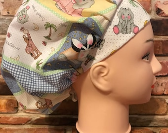 BABY ANIMAL NURSERY Surgical Womens Scrub Hat Bouffant fits ponytail, Chemo Cap, Surgical Hat, Nurse Cap