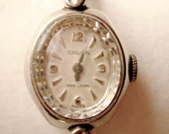 GRUEN Precision 10k White Gold Ladies Watch, 10k White Gold Plated GRUEN Precision Ladies Watch, Vintage 10k White Gold Watch, Gift for Her