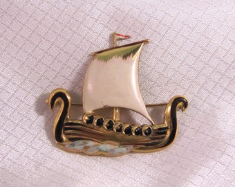 c1940's Coro Gold Plated Sterling Enameled Viking Ship Brooch