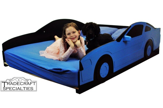 Sportscar full kids bed frame handcrafted race car themed