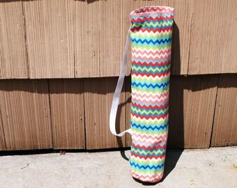 Yoga Mat Tote Bag Chevron Rainbow Cotton Twill Pilates Mat Bag Workout Mat Bag