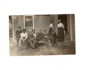 Family, antique rppc photo