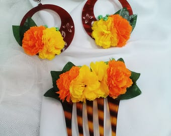Flamenco earrings and Peinecillo, yellow and orange flowers earrings, flamenco ensemble, Fiesta Ensemble, Mother's Day