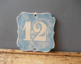 Custom House Number / Home decor / Door Number / Door Decor / Vintage decor / Door Plaque / Numerals / Blue sign / Door Sign