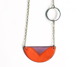 Half Moon Enamel Necklace