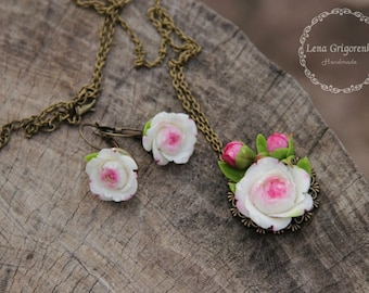 peony jewelry set, peony ring,  peony earrings, peony pendant, rustic jewelry, rustic earrings, flower earrings,  flower pendant