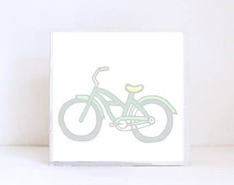 cruiser bike tropical beach nursery prints- boho decor- bicycle print- boho nursery- beachy nursery art block nursery decor redtilestudio