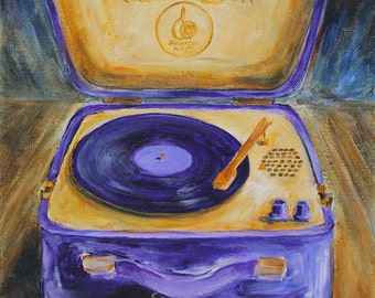 Vintage Emerson Music Box Record Player Original Acrylic Painting on Canvas 12 x 12 inches