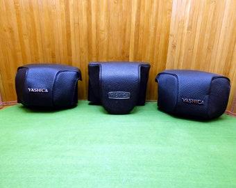Yashica camera case lot - vintage film camera cases holders