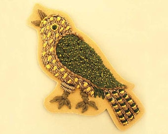 Antique Reproduction Bird Applique. Hand Embroidered