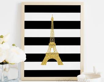 Stripe Faux Glitter Eiffel Tower Printable, Paris Wall Art, Paris Printable, Eiffel Tower Printable, Faux Gold Glitter Print, Teen Wall Art