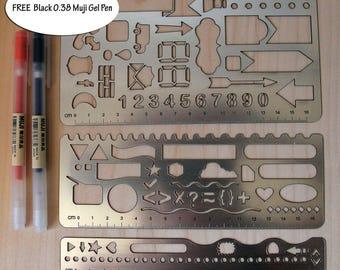 Bullet Journal Stencil. Planner Stencil. FREE Muji 0.38 Black Gel Pen. Scrapbook. LEUCHTTURM1917. Notebook. Tools
