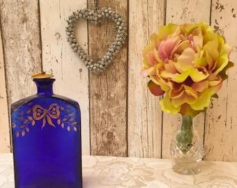 Vintage Blue Cobalt Glass Reproduction Perfume Bottle with Gilding Design