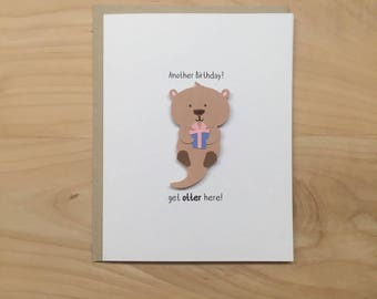 Animal birthday card etsy otter birthday card get otter here cute birthday card funny birthday card bookmarktalkfo Choice Image