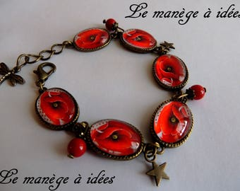 Bracelet / Cabochon / glass/Metal/Bronze adjustable pretty poppy, romantic.