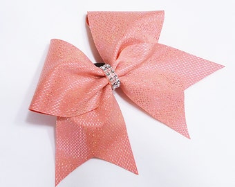 Coral cheer bow, Cheer bows, sequin cheer bow, cheer bow, cheerleader bow, cheerleading bow, cheerbows, softball bow, large cheer bow, bow