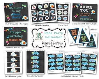 POOL / BEACH Party Printable Birthday Collection - Customized - DIY Coordinating Design Accessories