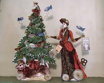 Articulated Paper Dolls Christmas Decorations Digital Download -Or 3D Greeting Card - Vintage Nanny. Christmas Tree, Bunny XP6D