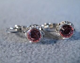 Vintage Silver Tone 2 Round Pink Multi Clear Rhinestone Dangle lever Back Style Pierced Earrings