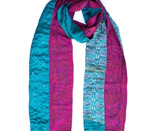 Edrei Kantha Scarf, Traditional Kantha Stitch, Hand Embroidered, Reversable