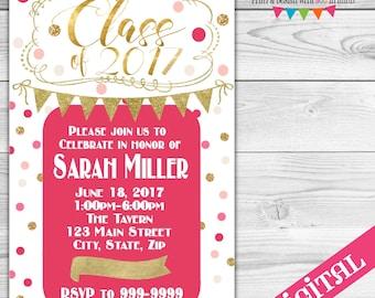 DIGITAL Pink and Gold Graduation invitation