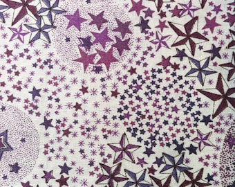 Printed fabric Liberty pattern Liberty ADELAJDA purple plum color