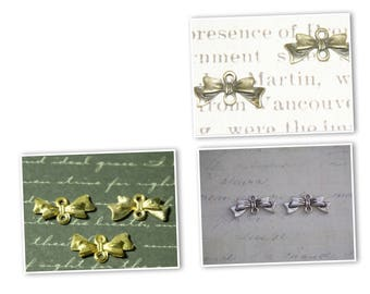 2 connectors bow metal gold/silver/bronze 10x20mm