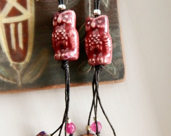 Andean Owl Earrings - Mixed Stones & Hemp / Rose Pink