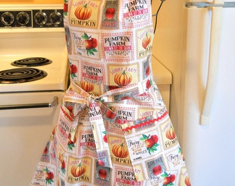 Women's Vintage Style Country Chic Apron in Harvest Fabric