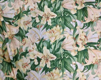 Vintage P. Kaufmann  Yellow Daylily Upholstery Fabric