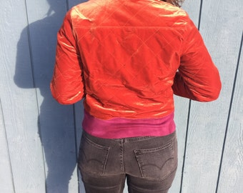 Rust and Wine Quilted Velvet Bomber
