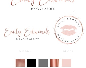 Beauty Logo, Mini branding kit, Logo design, Logo, Premade logo, Branding package, Watermark logo, Rose gold Logo, MUA, Lips Logo