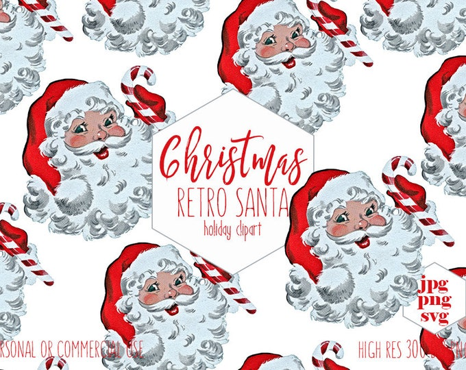 RETRO SANTA CLAUS Clipart Commercial Use Christmas Clip Art for Kids Santa Face Hat & Candy Cane Holiday Invitation Digital Graphics Svg