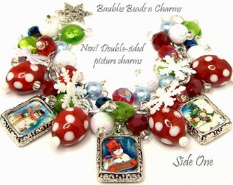 Snowman Christmas Charm Bracelet Jewelry, Picture Charm Bracelet, Altered Art Charm Bracelet, Silver Plated, Photo Charm Bracelet