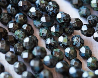 6mm Jet Black Fire Polished Beads - Black Picasso Fire Polished - Picasso Finish - Czech Glass Beads - Bead Soup Beads