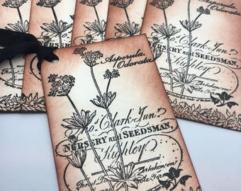 Handmade Gift Tag, Spring Gift Tag, Vintage Inspired Wild Flowers Gift Tag, Sepia Distressed Gift Tag, Sepia Gift Tag, Hand Stamped Hang Tag