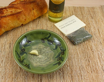 Garlic grater Plate  & herb mix- Oil dipping plate - Bread dipping plate - Appetizer plate - Plate - olive branch design with green glaze